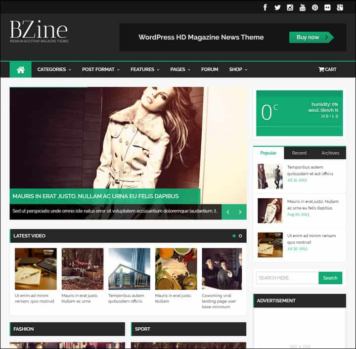 bzine wordpress premium hd magazine