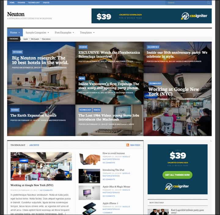 neuton magazine theme