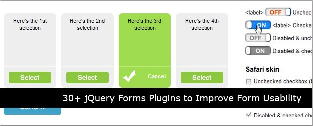 30+ jQuery Forms Plugins to Improve Form Usability