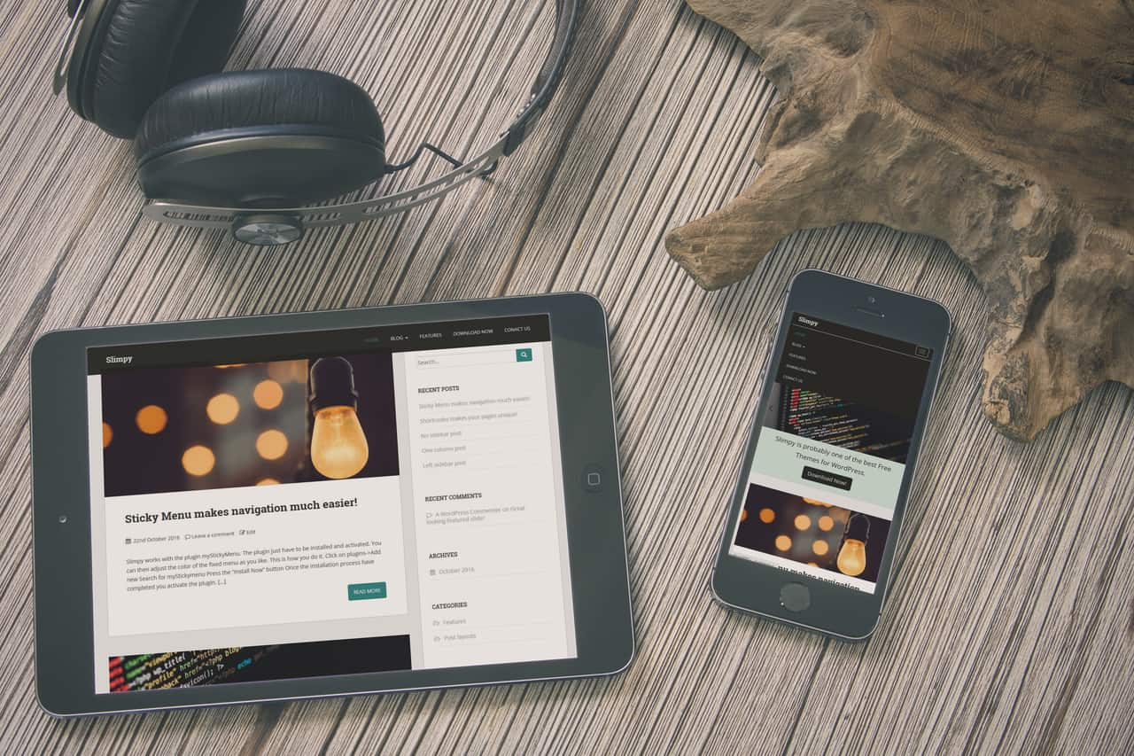 Slimpy is a clean, minimalistic and completely free responsive WordPress theme