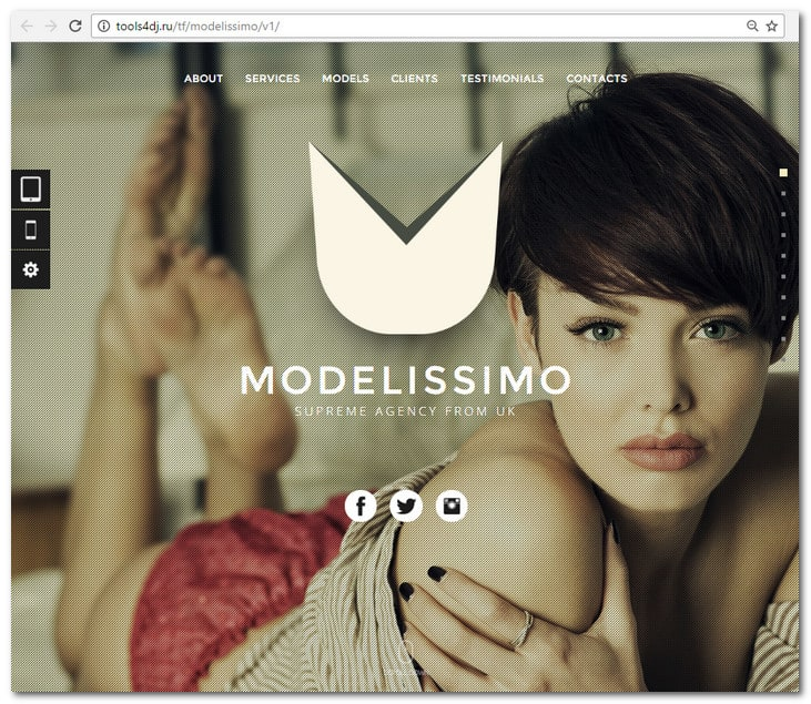 Modelissimo - Model Agency / Fashion Portfolio Onepage Muse Template