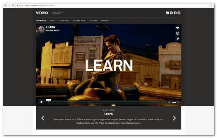 Vidiho Video blog Theme for WordPress