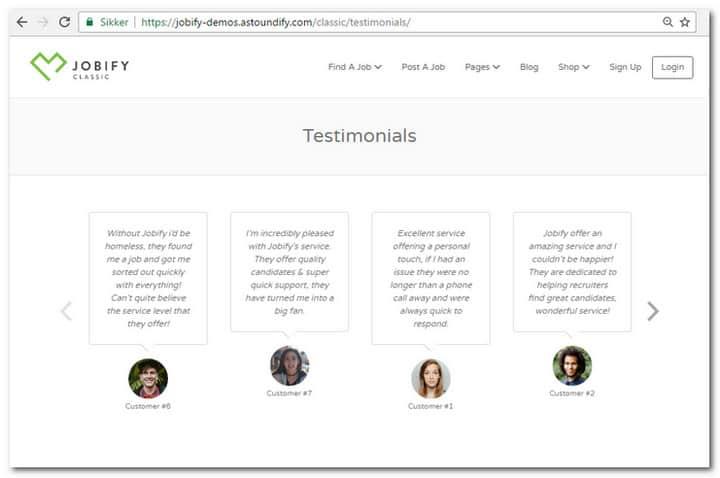 Jobify testimonials page