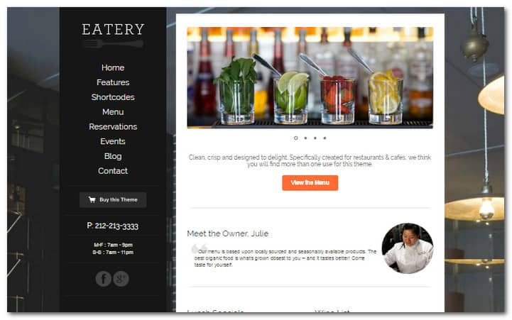 Eatery Responsive Restaurant WordPress Theme