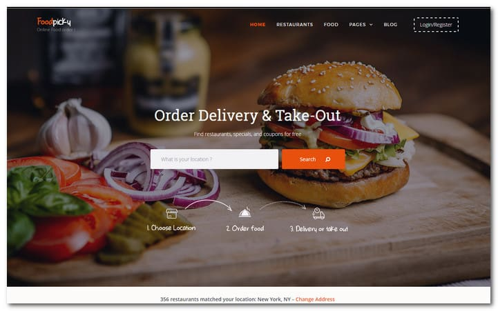 Food Delivery Restaurant Directory WordPress Theme – FoodPicky