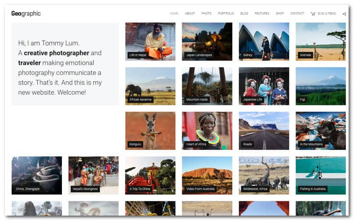 GeoPhoto Nature Photographer Portfolio Responsive WordPress Theme
