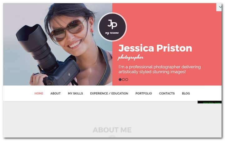 WordPress Theme for a Photographer's CV