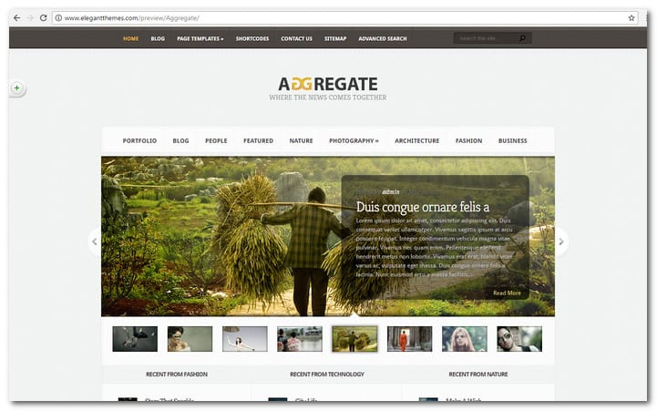 Aggregate WordPress News Website Template