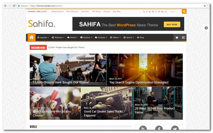 Sahifa – Responsive WordPress News