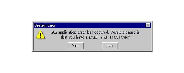 Joking Error Message Alert box