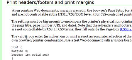 Printing Web documents and CSS